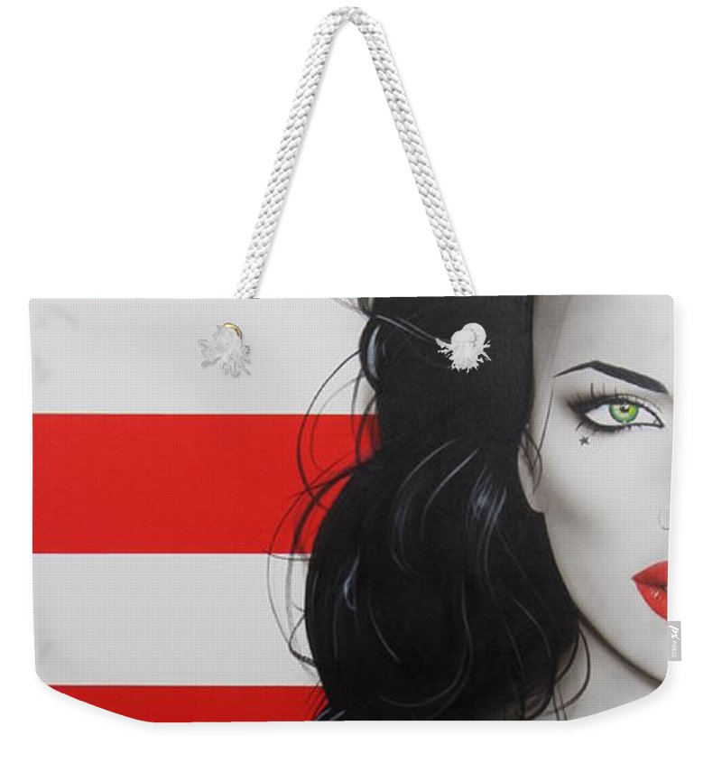 Stripes Weekender Tote Bag featuring the painting Candy Girl by Christian Chapman Art