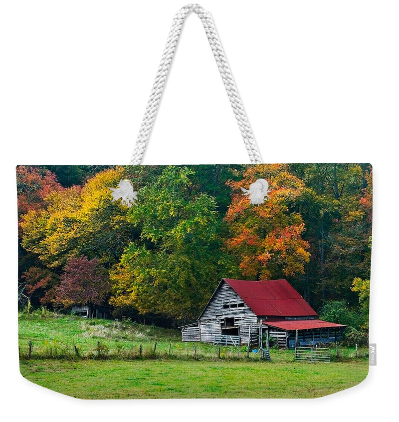 Appalachia Weekender Tote Bag featuring the photograph Candy Mountain by Debra and Dave Vanderlaan