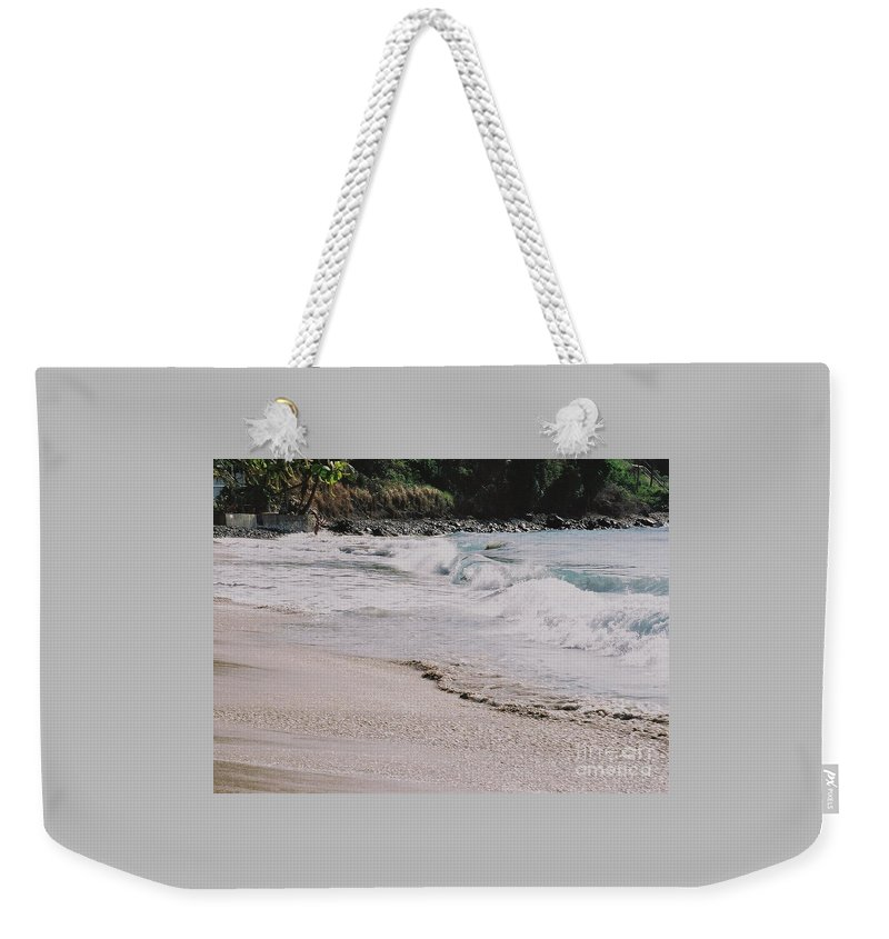 Tortola Cane Bay Waves Crashing Shoreline Movement Natural Beauty Tropical Foliage Rocky Shore Serenity Escape From Stress Canvas Print Metal Frame Poster Print Available On Greeting Cards Shower Invitation Cards Tote Bags Throw Pillows Shower Curtains Pouches Weekender Tote Bags Phone Cases And Now Coffee Mugs Weekender Tote Bag featuring the photograph Cane Bay, Tortola # 3 by Marcus Dagan