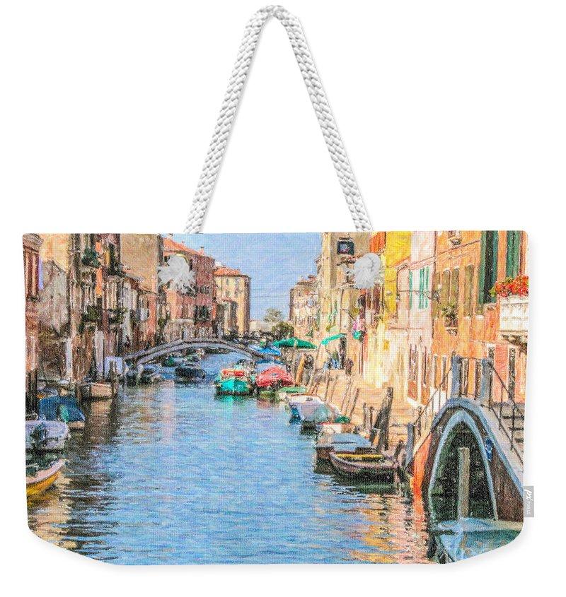 Cannareggio Weekender Tote Bag featuring the digital art Cannareggio Canal Venice by Liz Leyden