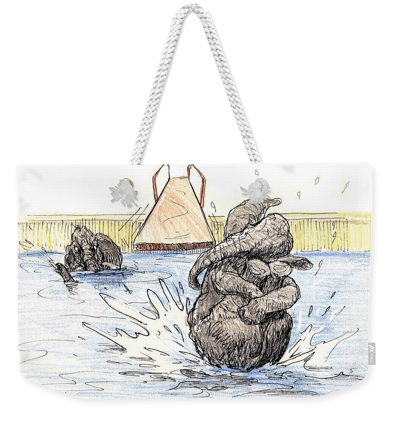 Elephant Weekender Tote Bag featuring the painting Cannon Ball Fun by Donna Tucker