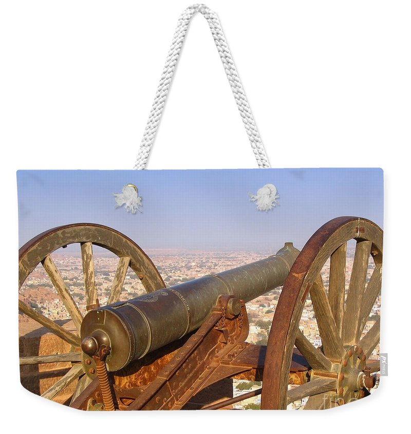 India Weekender Tote Bag featuring the photograph Cannon by Tim Hester