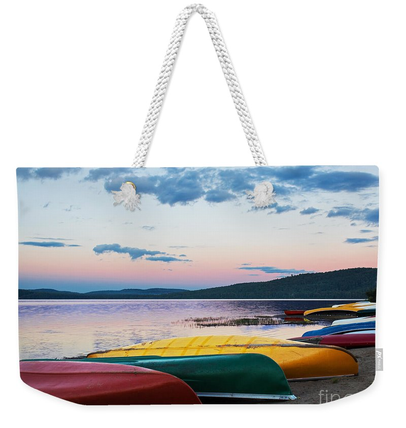 Canoe Weekender Tote Bag featuring the photograph Canoe Colourama by Barbara McMahon