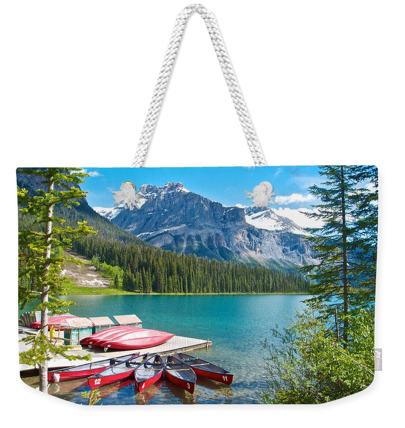 Canoe Livery On Emerald Lake In Yoho Np Weekender Tote Bag featuring the photograph Canoe Livery On Emerald Lake In Yoho Np-bc by Ruth Hager