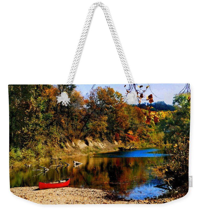 Autumn Weekender Tote Bag featuring the photograph Canoe On The Gasconade River by Steve Karol