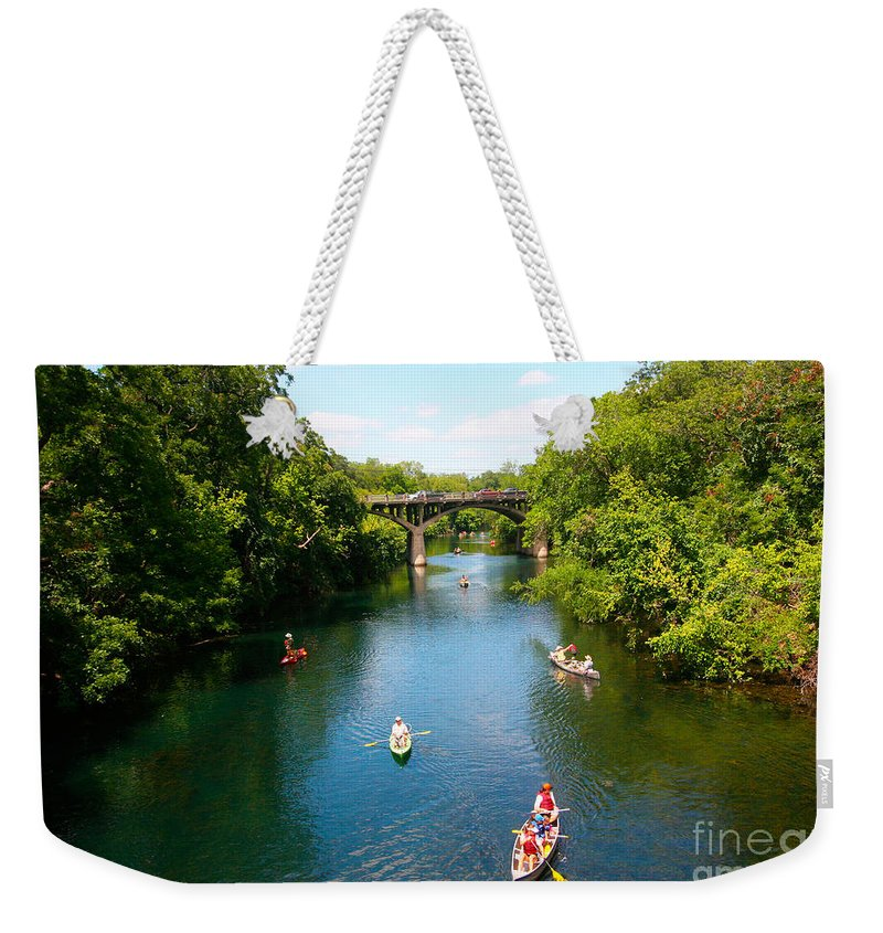 Barton Springs Pool Weekender Tote Bag featuring the photograph Canoeing The Springs by Randy Smith