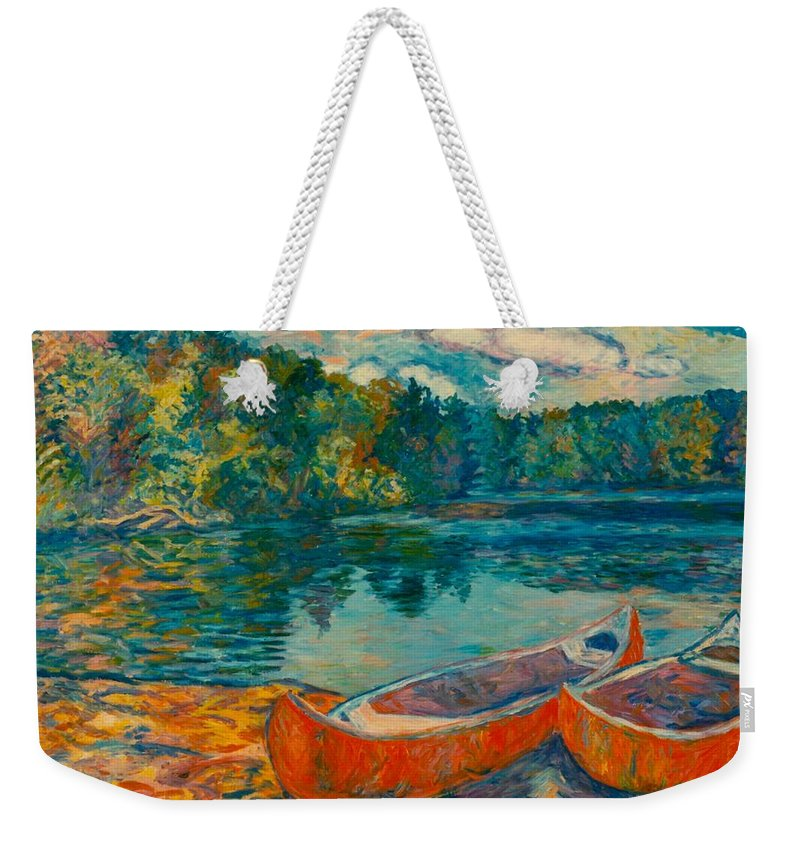 Landscape Weekender Tote Bag featuring the painting Canoes At Mountain Lake by Kendall Kessler