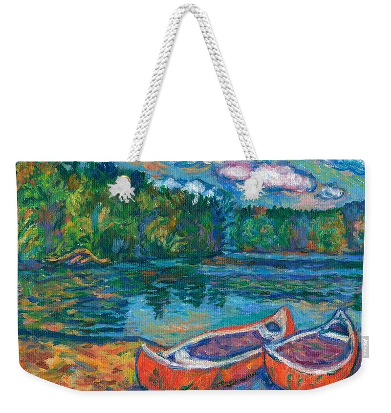 Landscape Weekender Tote Bag featuring the painting Canoes at Mountain Lake Sketch by Kendall Kessler