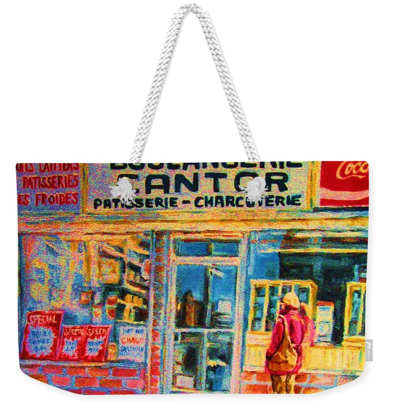 Cantors Weekender Tote Bag featuring the painting Cantors Bakery by Carole Spandau