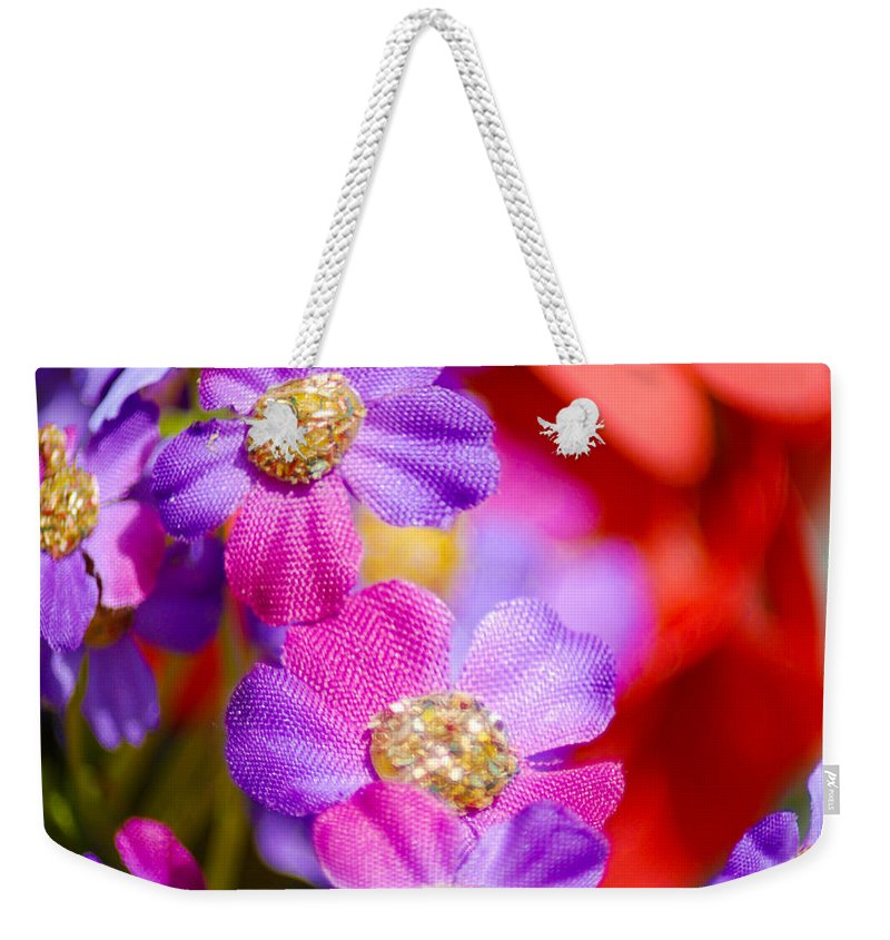 Flowers Weekender Tote Bag featuring the photograph Canvas Flowers by Optical Playground By MP Ray