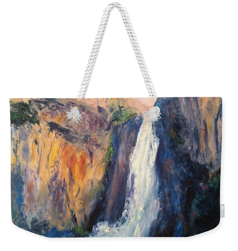 Canyon Weekender Tote Bag featuring the painting Canyon Blues by Gail Kirtz