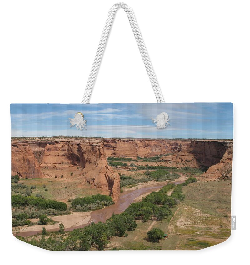 Canyon Weekender Tote Bag featuring the photograph Canyon De Chelly Overview by Christiane Schulze Art And Photography