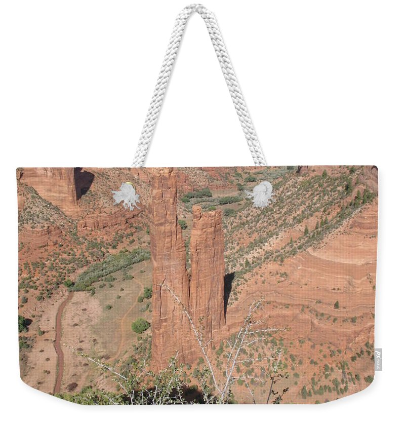 Canyon Weekender Tote Bag featuring the photograph Canyon De Chelly Spider Rock by Christiane Schulze Art And Photography