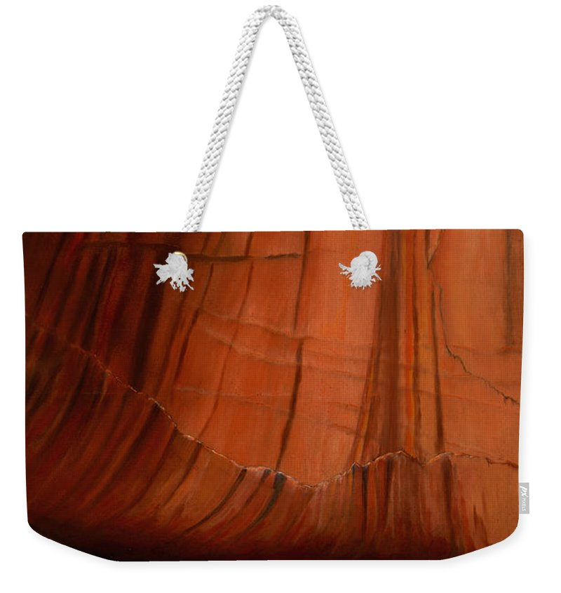 Canyon De Chelly Weekender Tote Bag featuring the painting Canyon Ruins by Jerry McElroy
