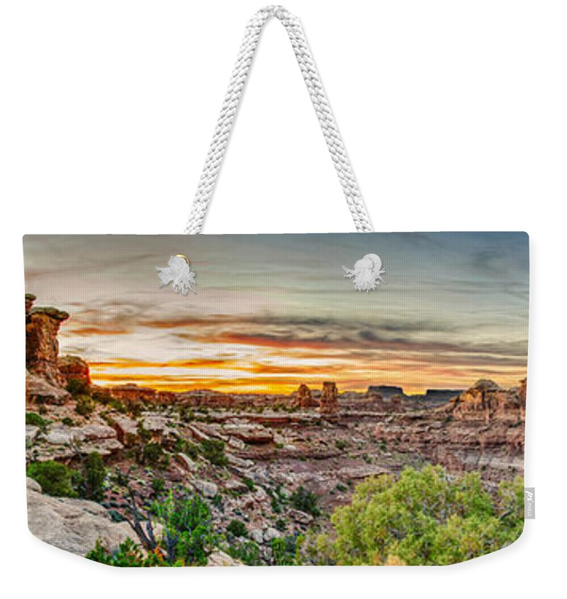 Pano Weekender Tote Bag featuring the photograph Canyonlands National Park by Brett Engle