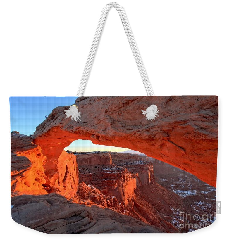 Mesa Arch Sunrise Weekender Tote Bag featuring the photograph Canyonlands Spectacular by Adam Jewell