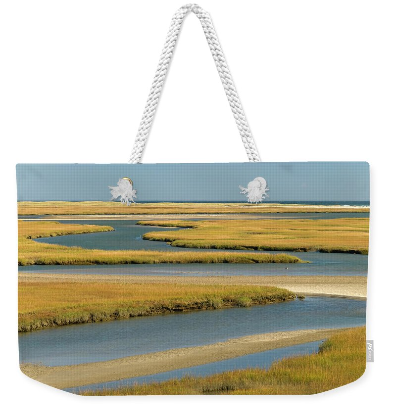 Grass Weekender Tote Bag featuring the photograph Cape Cod Wetlands by Frankvandenbergh