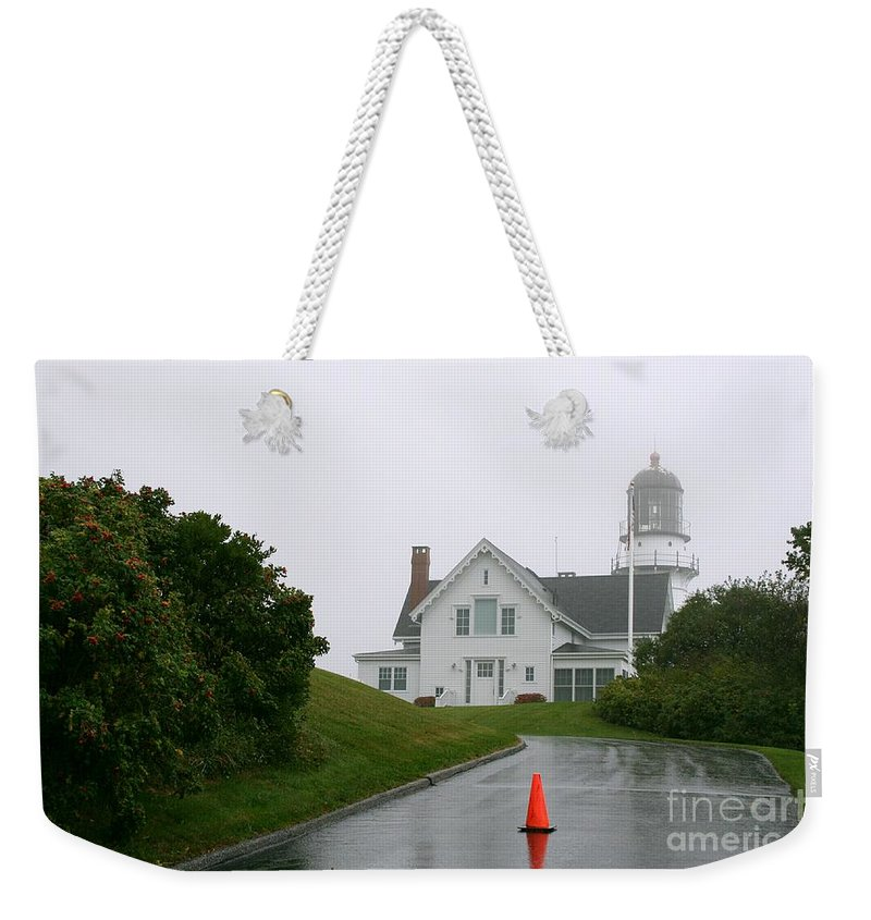 Lighthouse Weekender Tote Bag featuring the photograph Cape Elizabeth On A Rainy Day- Maine by Christiane Schulze Art And Photography