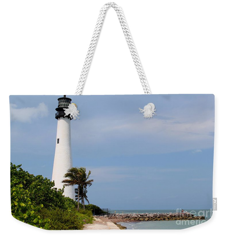 Lighthouse Weekender Tote Bag featuring the photograph Cape Florida Beach by Carey Chen