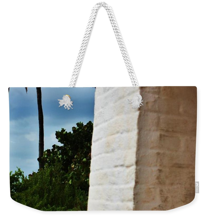 Lighthouse Weekender Tote Bag featuring the photograph cape Florida light door by Chuck Hicks