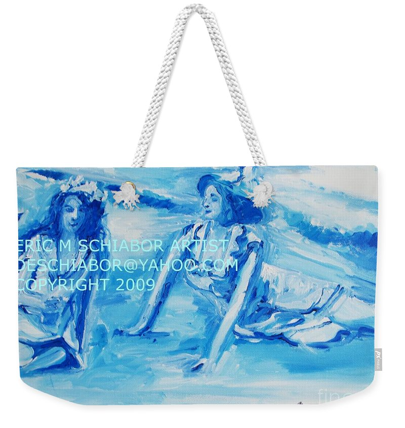 Bathing Weekender Tote Bag featuring the painting Cape May Bathing Beauty by Eric Schiabor