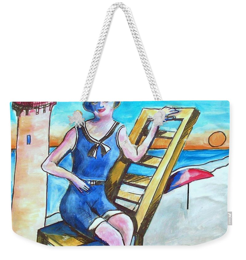 Cape May Weekender Tote Bag featuring the painting Cape May Illustration Poster by Eric Schiabor