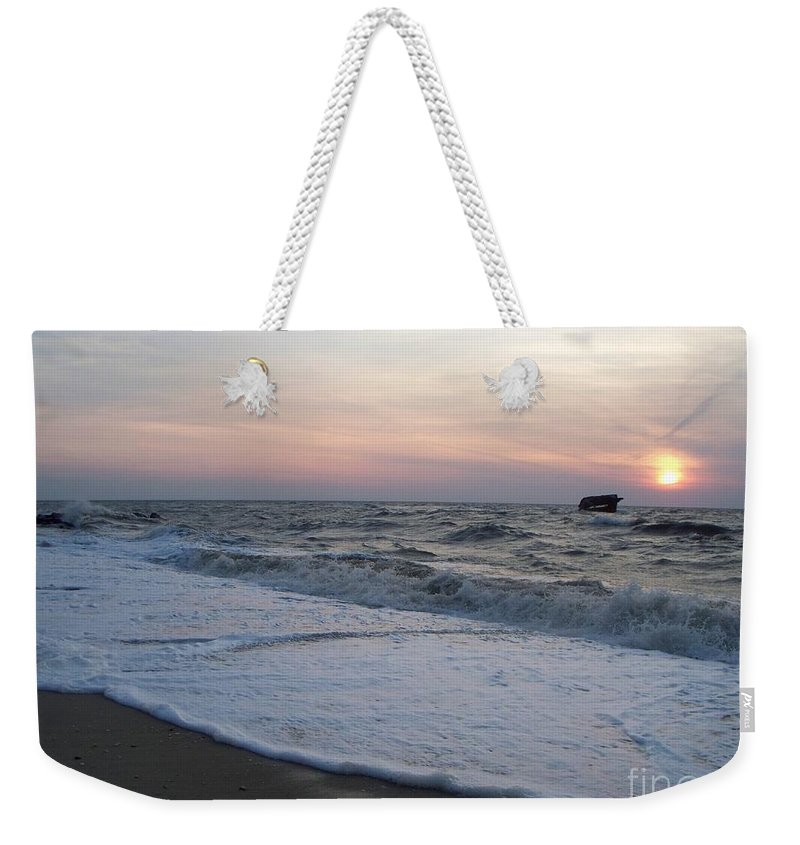 Cape May Weekender Tote Bag featuring the photograph Cape May Sunset Beach Nj by Eric Schiabor