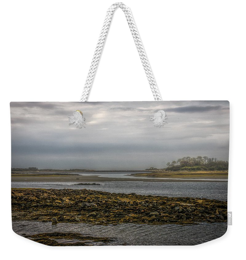 Kennebunk Weekender Tote Bag featuring the photograph Cape Porpoise Maine - Fog On The Horizon by Bob Orsillo