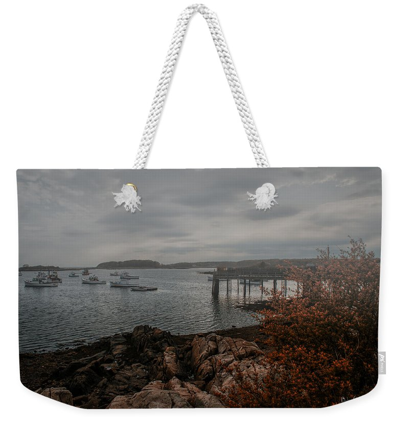 Kennebunk Weekender Tote Bag featuring the photograph Cape Porpoise Maine - Fog Rolls In by Bob Orsillo