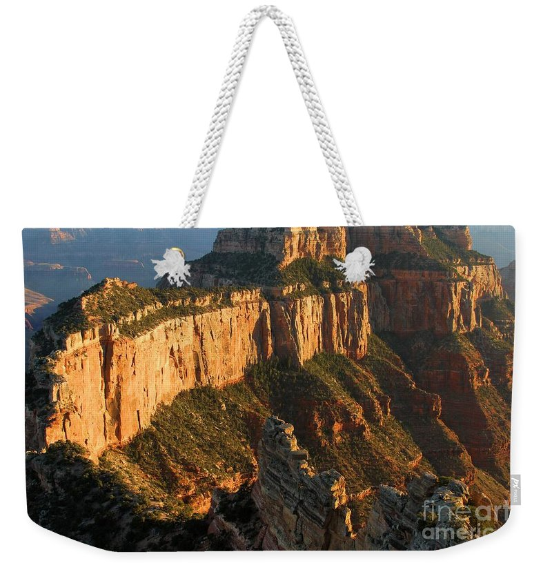 Grand Canyon Weekender Tote Bag featuring the photograph Cape Royal Towers by Adam Jewell