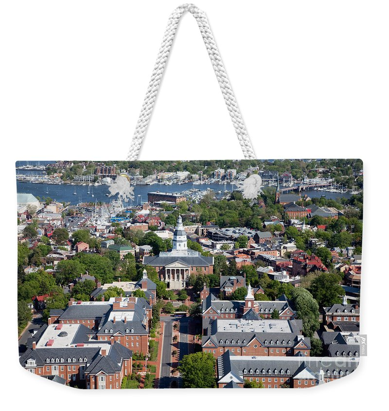 Historic District Weekender Tote Bag featuring the photograph Capital Of Maryland In Annapolis by Bill Cobb