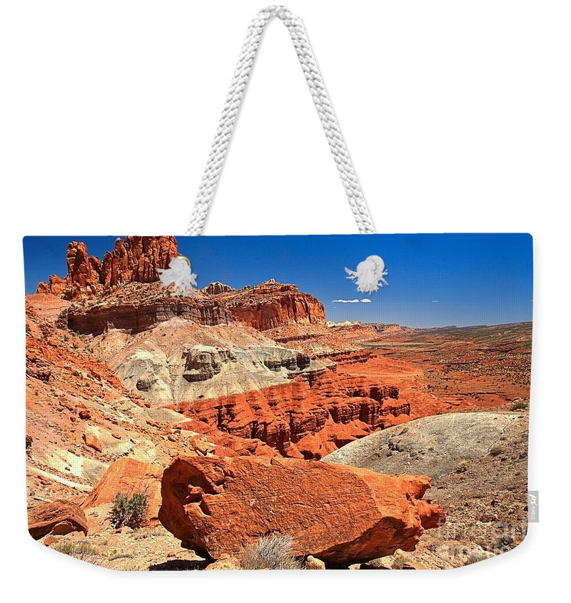 Capitol Reef National Park Weekender Tote Bag featuring the photograph Capitol Reef Waterpocket Fold by Adam Jewell