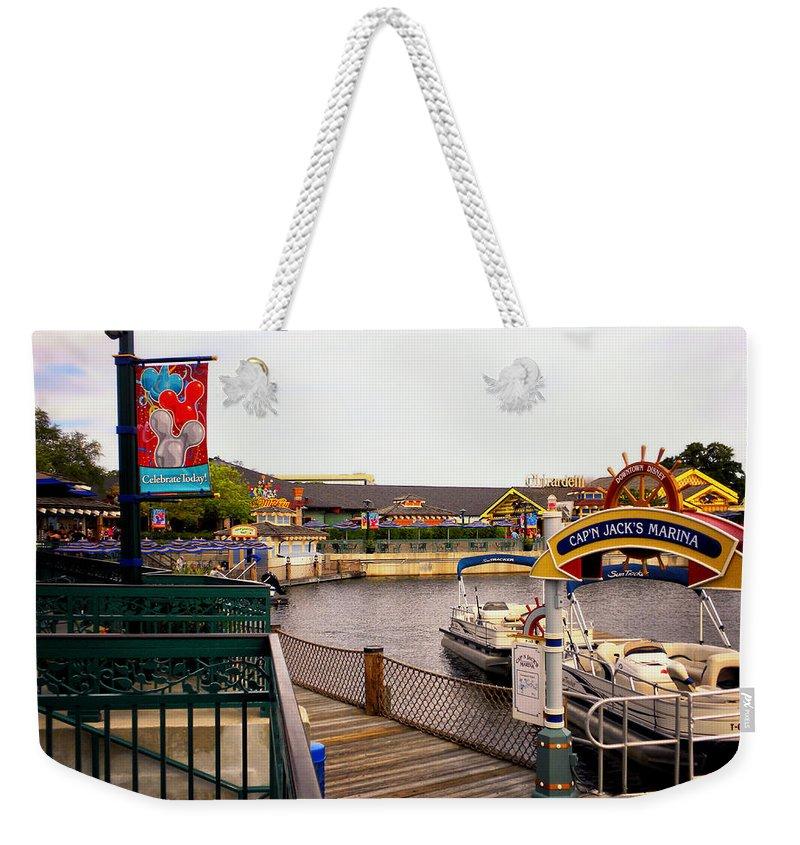 Captain Jacks Marina Weekender Tote Bag featuring the photograph Cap'n Jacks Marina Harbor Walt Disney World by Thomas Woolworth