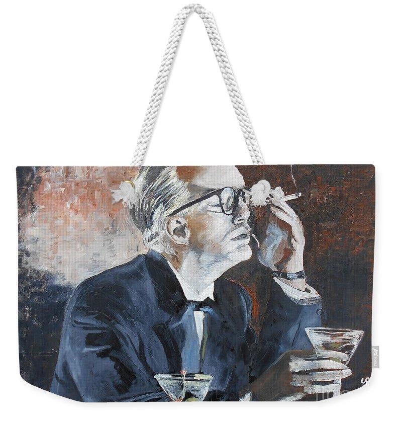 Phillip Seymour Hoffman Weekender Tote Bag featuring the painting Capote By Hoffman by Kevin J Cooper Artwork