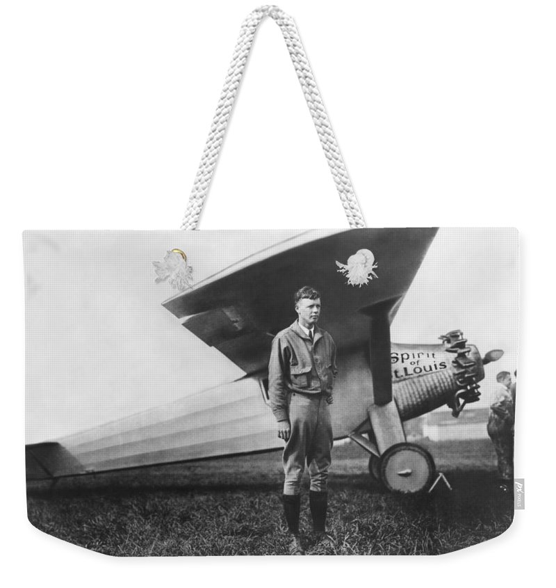 1927 Weekender Tote Bag featuring the photograph Captain Charles Lindbergh by Underwood Archives