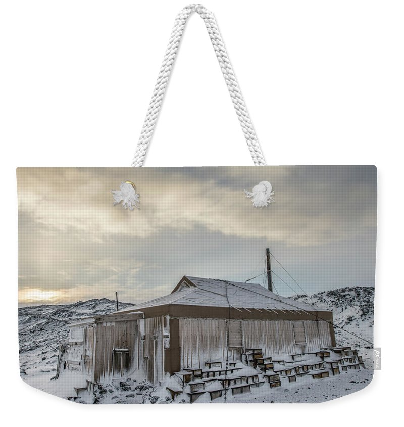 Antarctica Weekender Tote Bag featuring the photograph Captain Earnest Shackletons Hut At Cape by Alasdair Turner