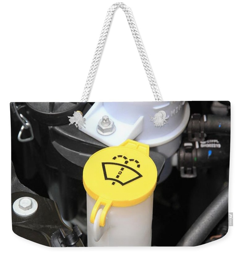 Fluid Weekender Tote Bag featuring the photograph Car Engine Details by Valentino Visentini