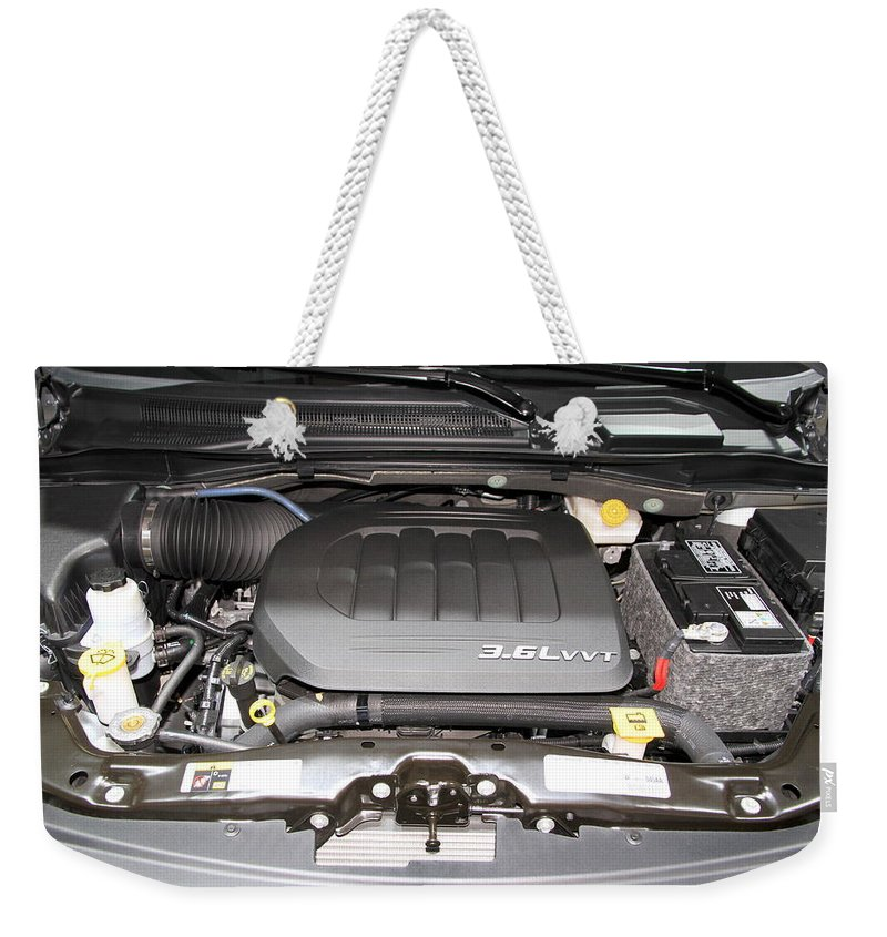 New Weekender Tote Bag featuring the photograph Car Engine by Valentino Visentini