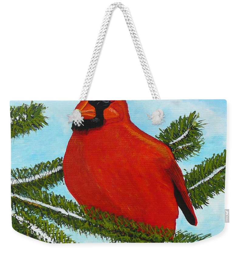 Cardinal Weekender Tote Bag featuring the painting Cardinal by Anthony Dunphy