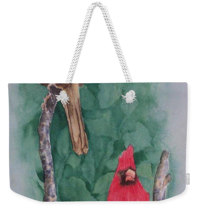 Cardinal Weekender Tote Bag featuring the painting Cardinal Companions by Rhonda Leonard