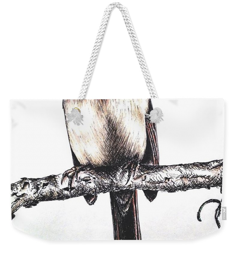 Ink Sketch Weekender Tote Bag featuring the drawing Cardinal Female by Katharina Filus