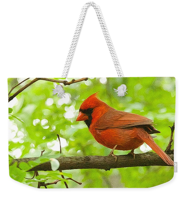 Cardinal Weekender Tote Bag featuring the photograph Cardinal In Red by Alice Gipson
