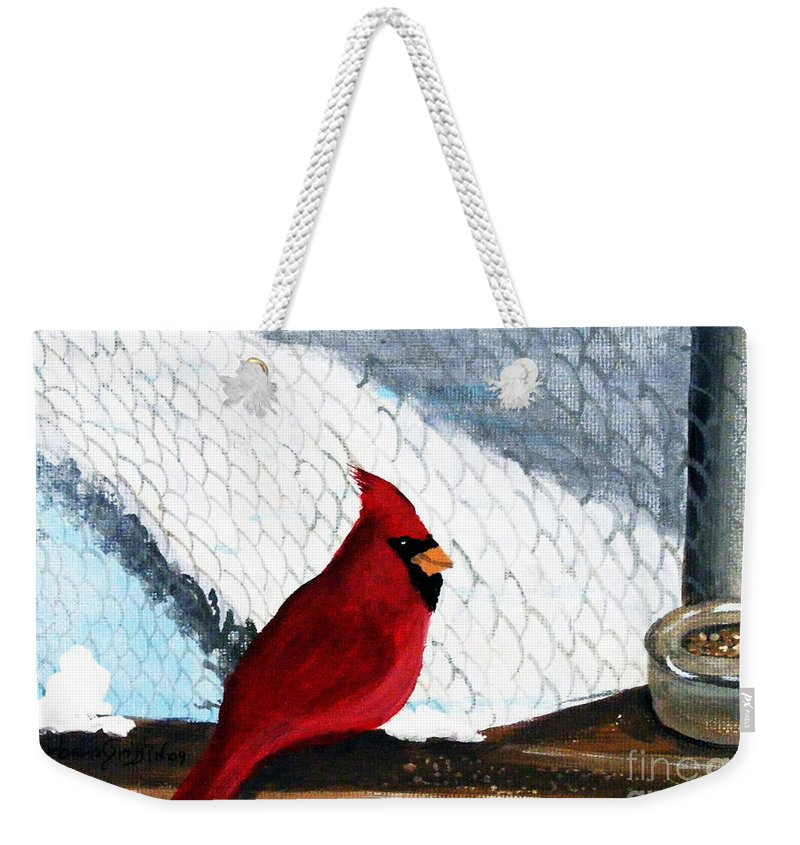 Cardinal Weekender Tote Bag featuring the painting Cardinal In The Dogpound by Barbara Griffin