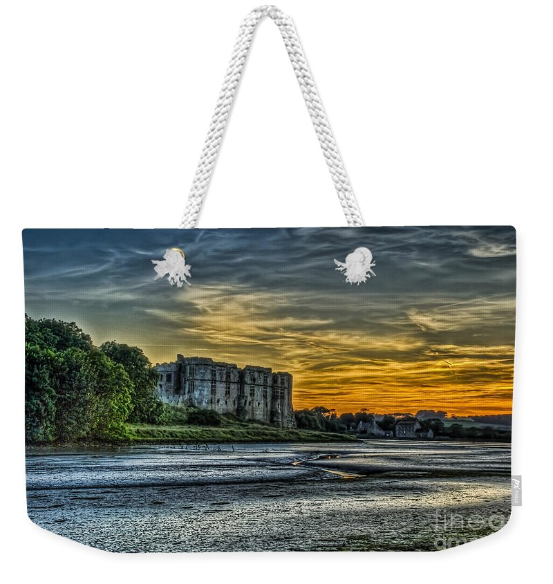 Carew Castle Weekender Tote Bag featuring the photograph Carew Castle Sunset 3 by Steve Purnell