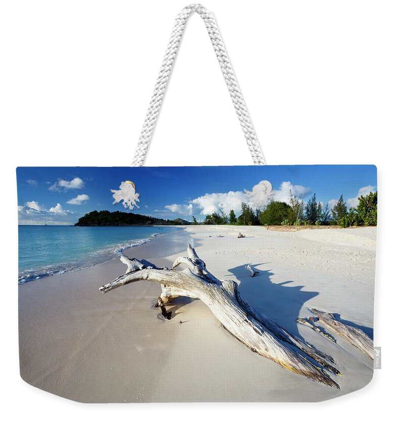 Water's Edge Weekender Tote Bag featuring the photograph Caribbean Beach With Driftwood by Michaelutech