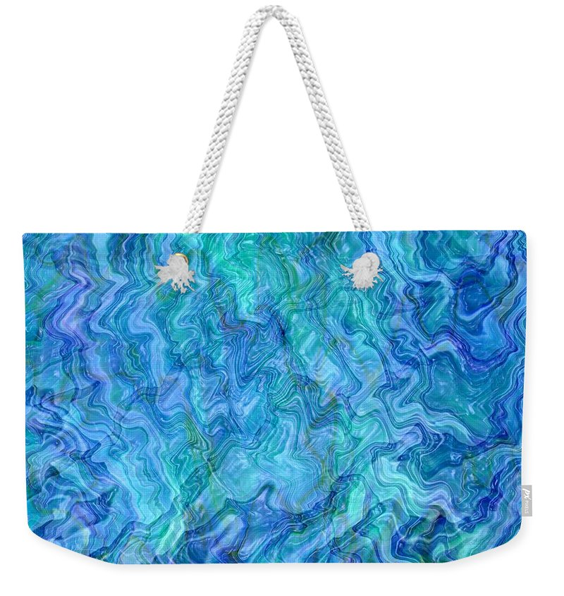 Blue Abstracts Weekender Tote Bag featuring the photograph Caribbean Blue Abstract by Carol Groenen