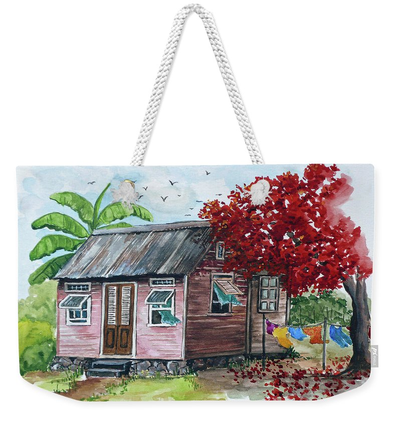 Caribbean House Weekender Tote Bag featuring the painting Caribbean House by Karin Dawn Kelshall- Best
