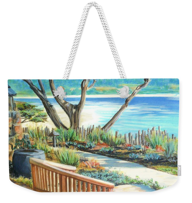 Carmel Weekender Tote Bag featuring the painting Carmel Lagoon View by Jane Girardot