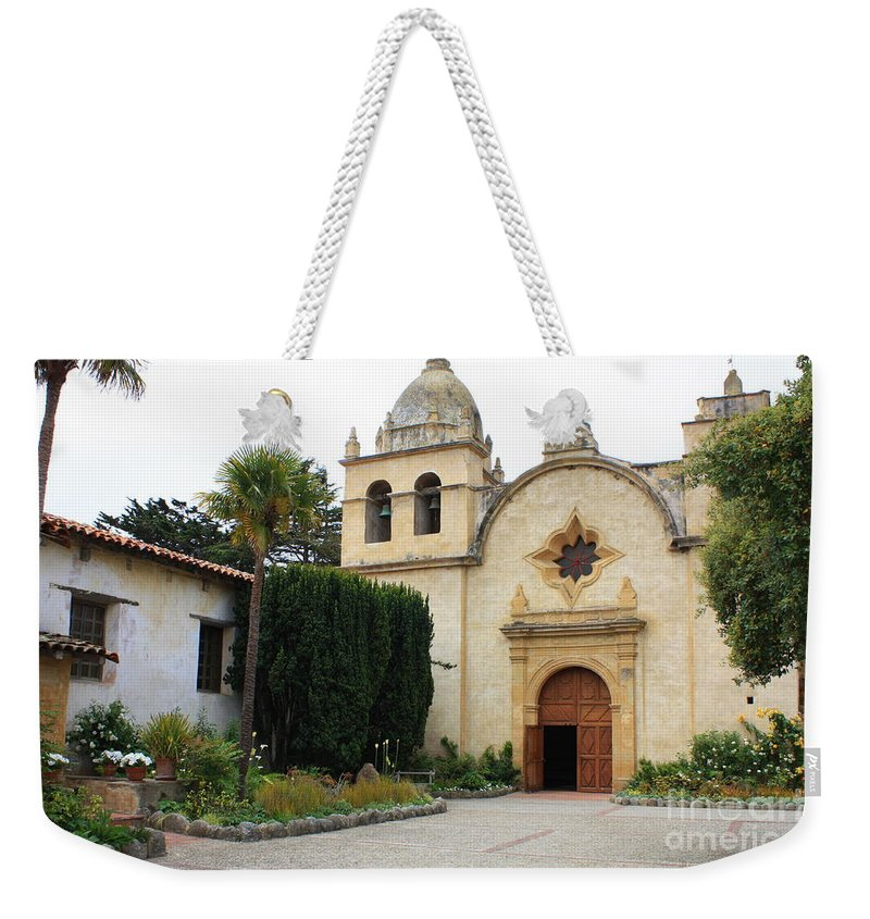 Carmel Mission Church Weekender Tote Bag featuring the photograph Carmel Mission Church by Carol Groenen