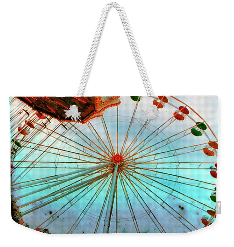 Ferris Wheel Weekender Tote Bag featuring the photograph Carnival Colors by Gothicrow Images